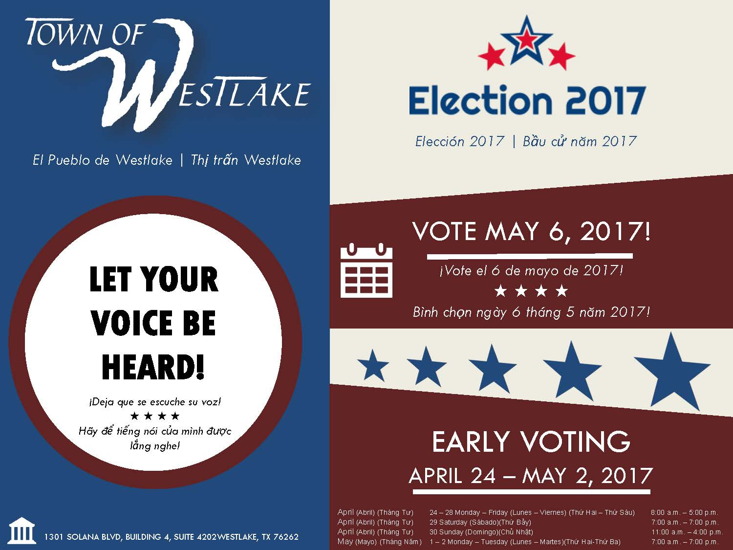 2017 Early Voting schedule